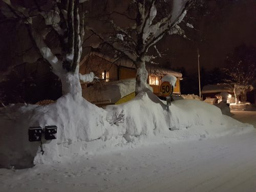 Snö i mängder i Sorsele